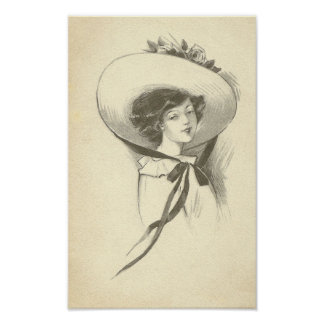 Vintage Woman With Hat Poster