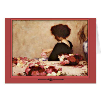 Vintage Woman with Pink and Red Roses Card