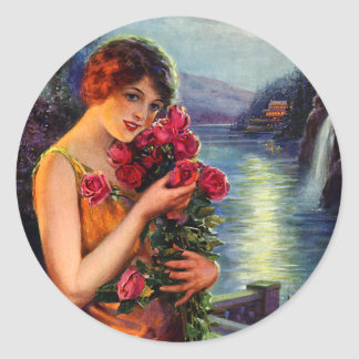 Vintage Woman with Red Roses in Moonlight Classic Round Sticker