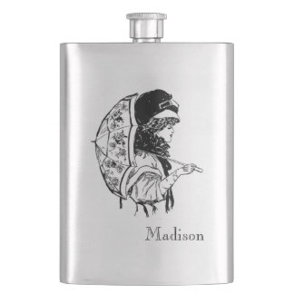 Vintage Woman with Umbrella with Monogram Hip Flask