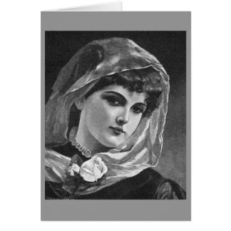 Vintage Woman with Veil Greeting Card