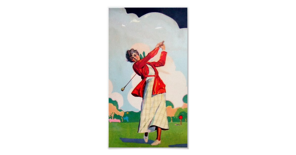 Vintage Women Golfer - Poster | Zazzle.ca