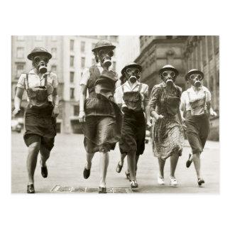 Vintage Women in Gas Masks World War II Postcard