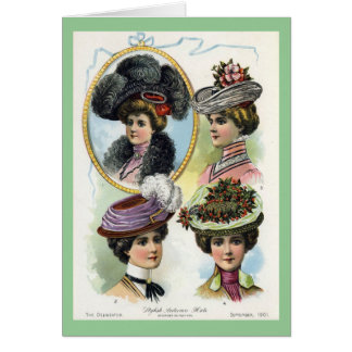 Vintage Women Wearing Hats Card