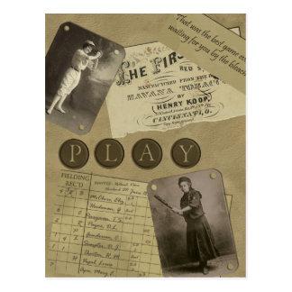 Vintage Women's Baseball Postcard