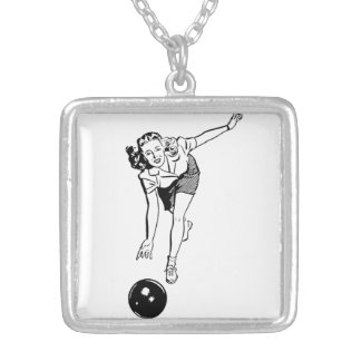 Vintage Women's Bowling Silver Plated Necklace