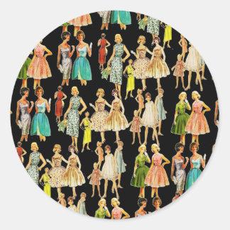 Vintage Women's Fashion Classic Round Sticker