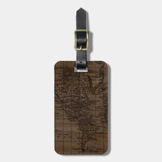 Vintage Wood and Black World Map Luggage Tag