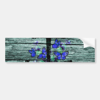 Vintage Wood & Black Anchor With Blue Butterflies Bumper Sticker