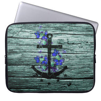 Vintage Wood & Black Anchor With Blue Butterflies Laptop Sleeve