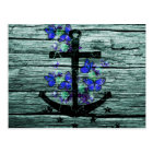 Vintage Wood & Black Anchor With Blue Butterflies Postcard