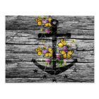 Vintage Wood & Black Anchor With Yellow Butterfly Postcard