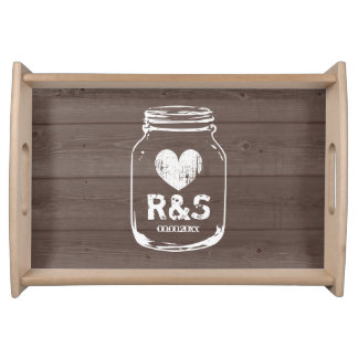 Vintage wood grain mason jar wedding serving trays