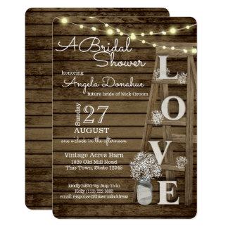 Vintage Wood Ladder Bridal Shower Card