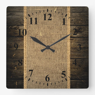 Vintage Wood Look Burlap Rustic Square Wall Clock