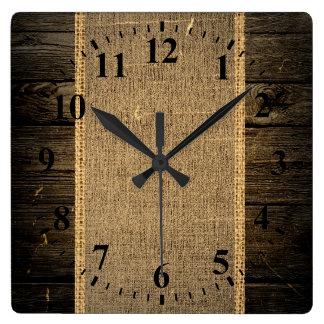 Vintage Wood Look Burlap Rustic Wall Clocks