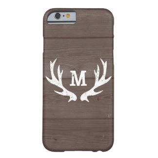 Vintage wood monogram deer antlers iPhone 6 case