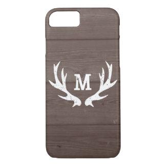 Vintage wood monogram deer antlers iPhone 7 case
