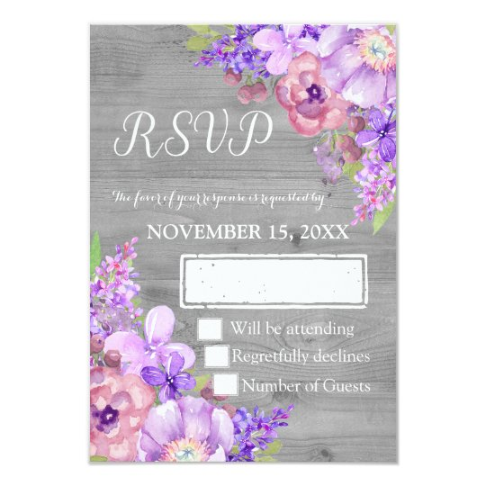 Vintage Wood Purple Floral Wedding RSVP Card