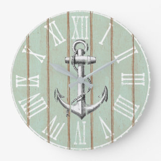Vintage Wood Rustic Anchor Nautical Clocks