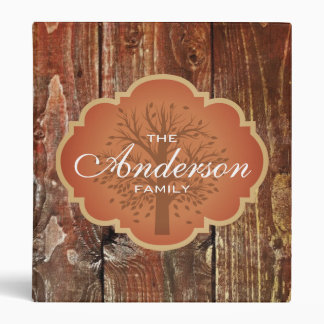 Vintage Wood Rustic Custom Family Tree Genealogy Vinyl Binder