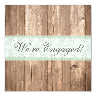 """Vintage wood Shabby Chic Engagement Party 5.25"""" Square Invitation Card"""