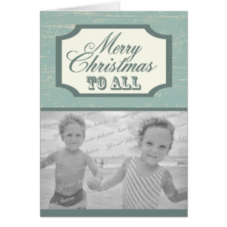 Vintage Wood Sign Christmas with Photo Card