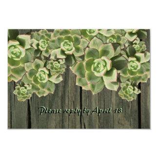Vintage Wood Soft Succulents rsvp Card