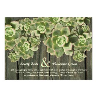 Vintage Wood Soft Succulents Wedding Invitations