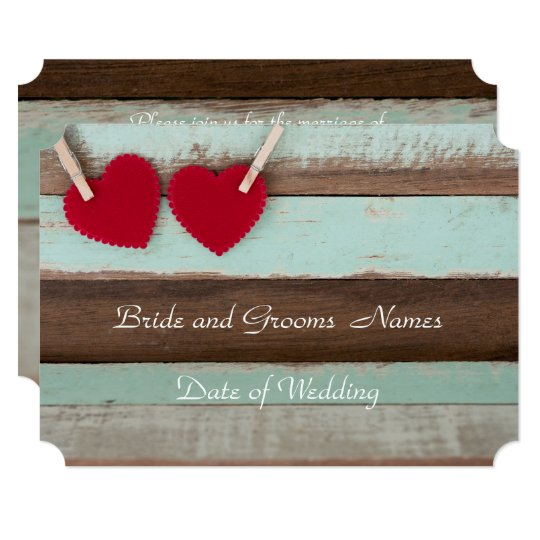 Vintage Wood with Red Hearts Wedding Invitation