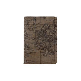 Vintage Wood World Map Passport Holder