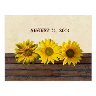 Vintage Wood Yellow Sunflower Save the Date Postcard