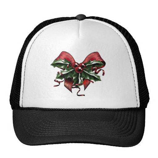 Vintage Woodcut Christmas Holly Bow Trucker Hats