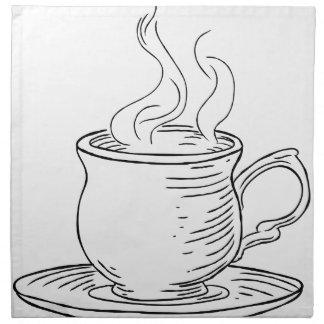 Vintage Woodcut Cup of Tea or Coffee Napkin