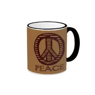 Vintage Woodcut Peace Sign Coffee Mug