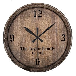 Vintage Wooden Barrel Head Family Name Established Large Clock