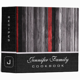 Vintage Wooden Family Recipes Burlap Look #11 Binders