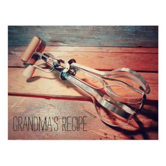 Vintage Wooden Hand Mixer Retro Recipe Card