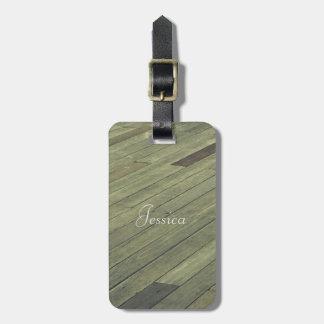 Vintage Wooden Plank Floor Luggage Tag