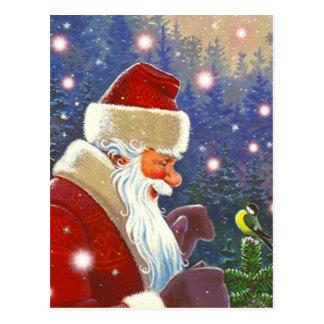Vintage Woodland Santa & Chickadee Tree Topper Postcard