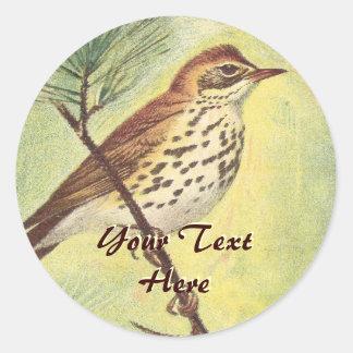 Vintage Woodland Thrush Stickers