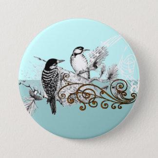 Vintage Woodpecker Wedding Love Birds 3 Inch Round Button