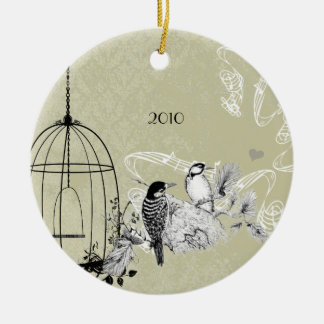 Vintage Woodpeckers & Bird Cage on Damask Ceramic Ornament