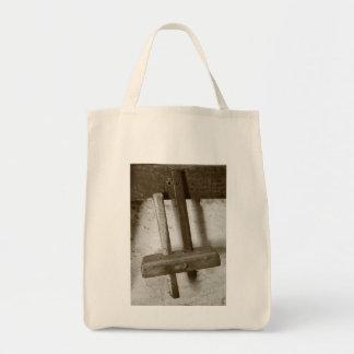 Vintage woodworking tool tote bag