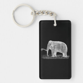 Vintage Woolly Mammoth Illustration Wooly Mammoths Keychain