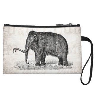 Vintage Woolly Mammoth Illustration Wooly Mammoths Wristlet