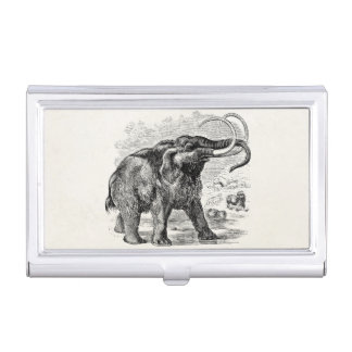 Vintage Woolly Mammoth Personalized Extinct Animal Business Card Holder