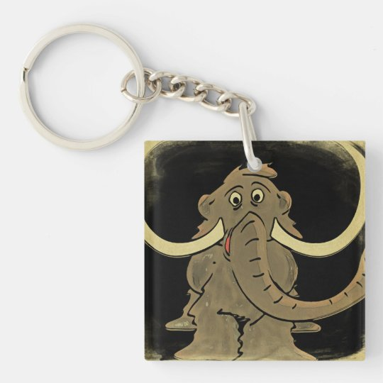 Vintage Woolly Mammoth Single-Sided Square Acrylic Keychain