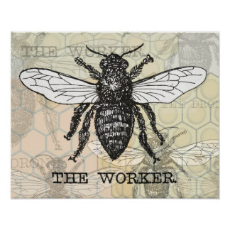 Vintage Worker Bee Print Animal Illustration