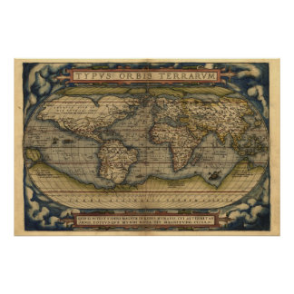 Vintage World Atlas Map Print